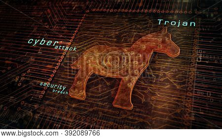 Trojan Attack, Computer Virus, Cyber Security, Malware, Crime And Spying Software Technology Icon. A