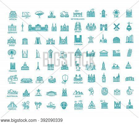 Simple Linear Vector Icon Set Representing Global Tourist Landmarks And Travel Destinations For Vaca