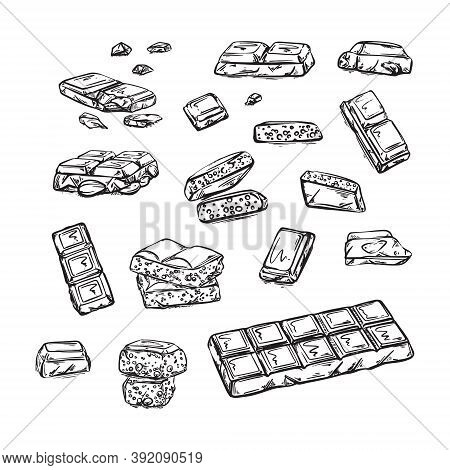 Pieces Of Black And White Chocolate Bar. Hand-drawn Sketch, Chocolate Dessert Illustration . Vector