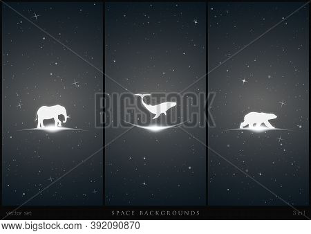 Endangered Animals In Space. White Silhouette Of Lonely Whale, Polar Bear And Elephant. Black And Wh
