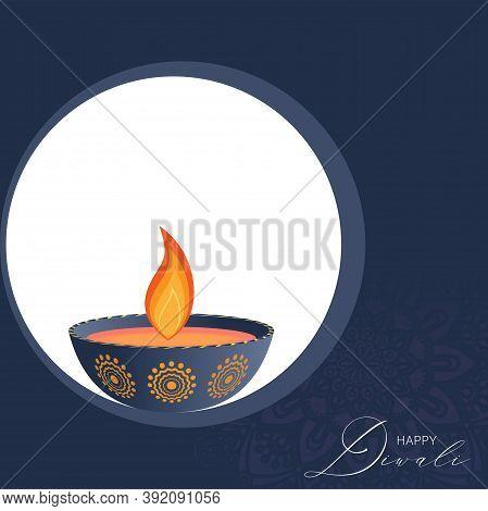 Vector Illustration Of Diwali Festival Diya Lamp. Happy Diwali Luxury Greeting Cards.
