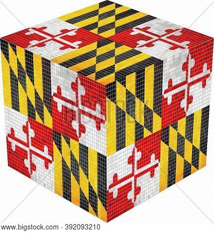 Maryland Cube - Illustration,  Abstract Grunge Mosaic Flag Of Maryland
