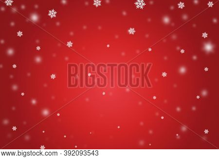 Christmas Bokeh Falling Snow Isolate On Red  Background With Sparkling  Snowflake, Star Light  For N