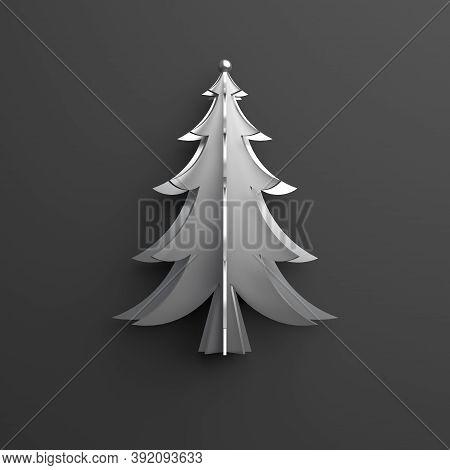 Silver Chrome Spruce, Fir Tree Art Paper Cut Origami On Dark Black Background. Flat Lay, 3d Renderin