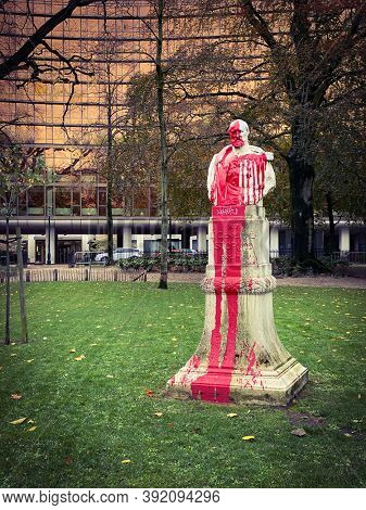 Brussels, Belgium, October 29, 2020 -  Statue of the general Storms vandalized by people against the past Belgian colonialism in the Congo with red paint