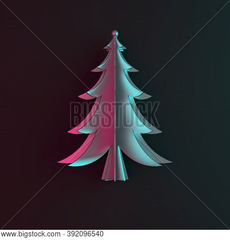 Blue Pink Gardient Silver Chrome Spruce, Fir Tree Art Paper Cut Origami On Dark Black Background. Fl