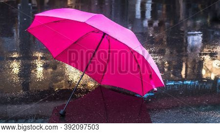 Pink Umbrella After The Rain. Pink Umbrella On The Wet