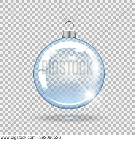 Transparent Christmas Ball For Decorating The New Year Tree. 3d Realistic Vector Illustration. Isola