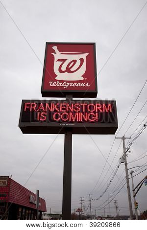 NEWTON, NJ - OCT 27: A message on a Walgreens sign that reads 'Frankenstorm Is Coming' before Hurricane Sandy made landfall in the northeast region of the US in Newton, New Jersey on October 27, 2012.