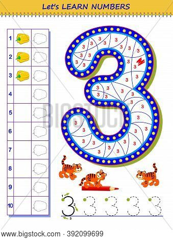 Let Us Learn Numbers. Educational Game For Children. Printable Worksheet For School Textbook. Kids A