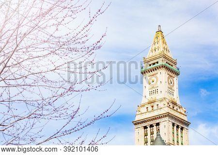 Clocktower On Jenney Plaza Of Boston Downtown Building, Massachusetts, Usa