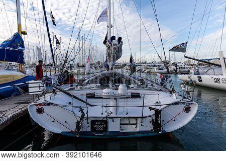 Les Sables D'olonne, France - October 19, 2020: Pip Hare Boat (medallia) On The Vendee Globe 2020 Po