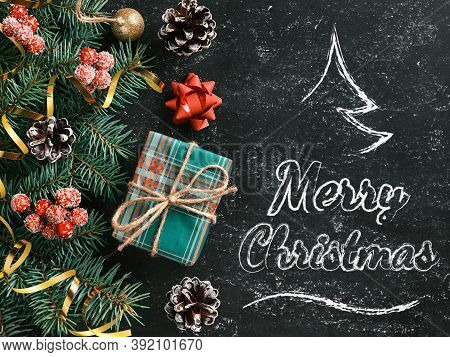 Christmas Background With A Stylized Christmas Tree And Merry Christmas Lettering On A Chalkboard. N