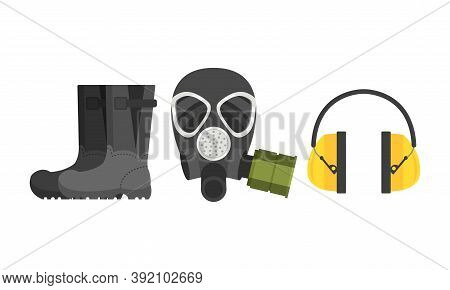 Pair Of Boots And Gas-helmet As Safety Equipment For Industrial Worker Vector Set