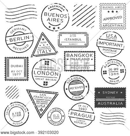 Monochrome Retro Postage Stamps Set Of Various Shapes From Different Countries Isolated Vector Illus