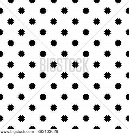 Repeated Black Mini Crosses On White Background. Seamless Surface Pattern Design With Simple Ornamen