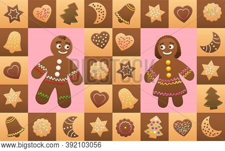 Christmas Cookies With Gingerbread Man And Woman In Love - Cookies And Symbols, Typical Shapes Like