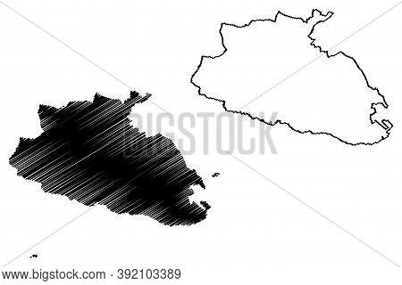 Southern Region (republic Of Malta, Island, Archipelago, Regions Of Malta) Map Vector Illustration,