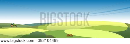 Horizontal Vector Illustration Summer Day Rural Landscape Fields Meadows Panoramic