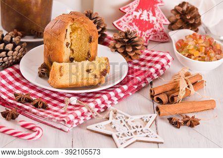 Panettone, Italian Christmas Cake On White Dish.