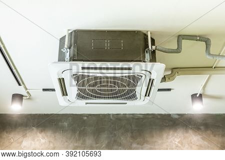 Ceiling Mounted Cassette Type Air Conditioner In The Office Buildings, Cafes Or Studios