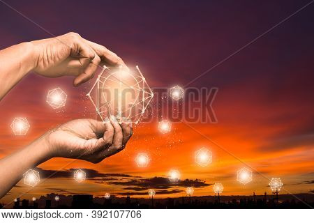 Creativity And Innovative Abstract Concept Of Business Success New Idea And Innovation With Light Bu