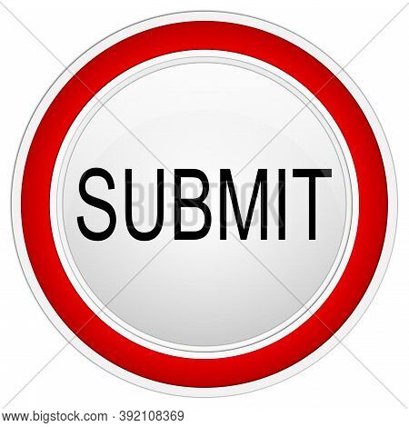Red Submit Button On White Backround - Illustration