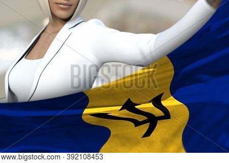 Beautiful Business Woman Is Holding Barbados Flag In Front Of Her On The  Mall Background - Flag Con