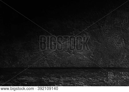 Black, Dark And Gray Abstract Old Cement  Wall And Studio Room , Interior Texture For Display Produc