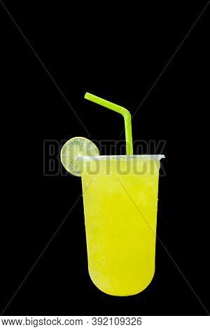 Pineapple Juice Soda Sweet Water Isolated On A Black Color Background