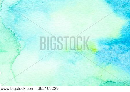 Gradient Of Green And Blue Watercolor Abstract Background On White Paper Texture