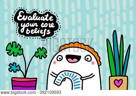 Evaluate Your Core Beliefs Hand Drawn Vector Illustration In Cartoon Doodle Style Man Reading List