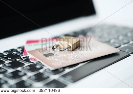 Computer Internet Credit Card Security Concept With Padlock. Credit Card Data Security Concept. Data
