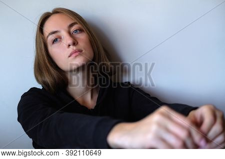 Young Beautiful Sad And Desperate Caucasian Woman Suffering Depression Looking Thoughtful And Frustr