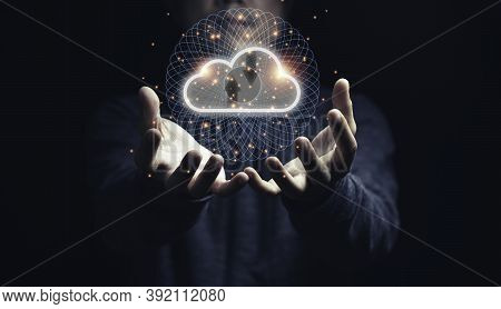 Man Holding Virtual Cloud Computing On Hand With Connection Line.cloud Computing Is System For Shari