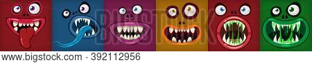 Set Monsters Mouths Creepy And Scary. Funny Jaws Teeths Tongue Creatures Expression Monster Horror D