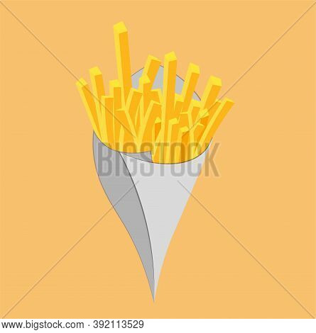 Fried French Fries In Cone Paper Cone Bag Vector Illustration