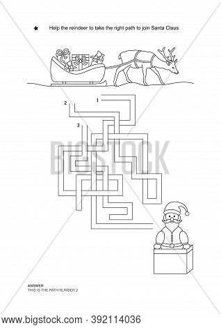 The Maze Game. Christmas Theme. Help The Reindeer To Join Santa Claus. Game And Coloring. Vector Ill