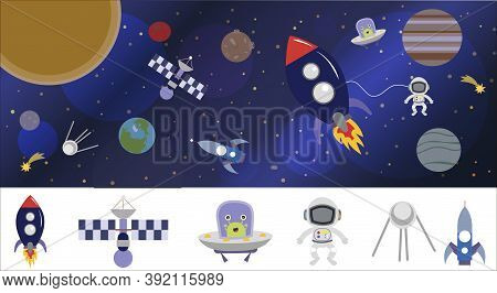 Cartoon Space Illustration With A Rocket, Astronaut, Planets And Aliens. Bright Cute, Children S Vec