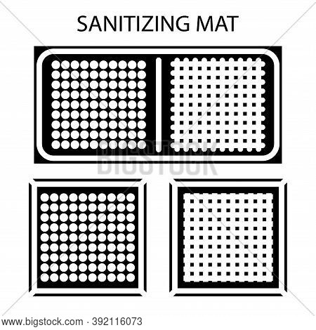 Disinfectant Mat. Sanitizing Mat. Antibacterial Entry Rug. Glyph. Disinfecting Carpet For Shoes. Ste