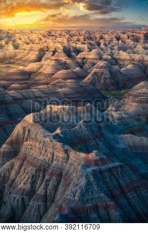 Stunning Multicolored Rock Formations In Badlands National Park