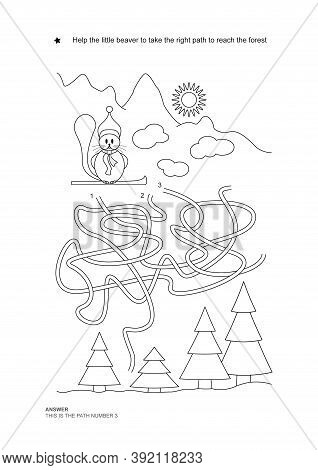 The Maze Game. Christmas Theme. Help The Little Beaver Get On The Right Path. Game And Coloring. Vec