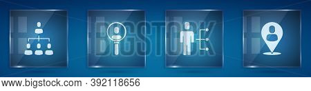 Set Hierarchy Organogram Chart, Search People, User Of Man In Business Suit And Worker Location. Squ