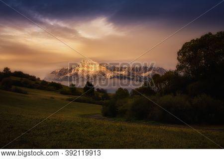 The Slovak National Symbol Krivan In The Evening Light