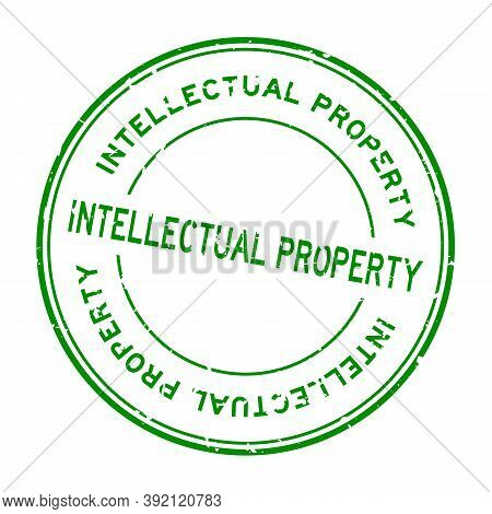 Grunge Green Intellectual Property Word Round Rubber Seal Stamp On White Background