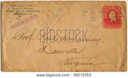 USA - CIRCA 1906: Mailing envelope with postage stamps dedicated to G. Washington, circa 1906.
