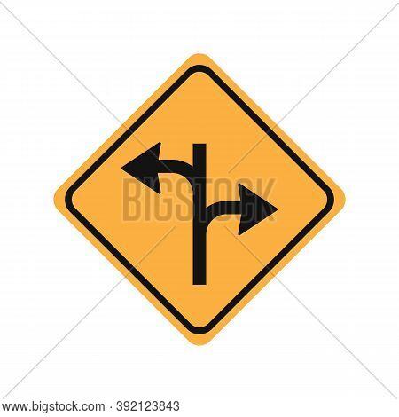 Turn Right Or Turn Left Glyph Icon Road Sign Vector Illustration In White Background. Turn Right Or