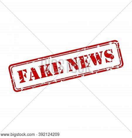 Worn Impression Of A Stamp With The Words Fake News Isolated On A White Background
