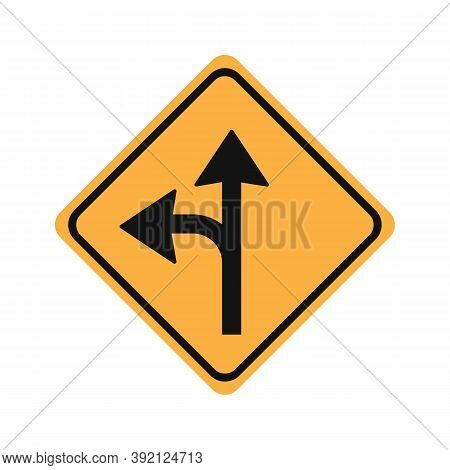 Turn Left Or Proceed Straight Glyph Icon Road Sign Vector Illustration In White Background. Turn Lef