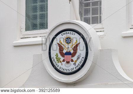 Reykjavik, Iceland - June 21, 2020: E Pluribus Unum Translated As Out Of Many, One At Embassy Of Uni